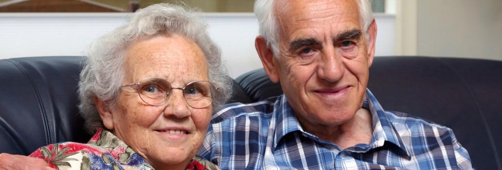 an elderly couple/grandparents.